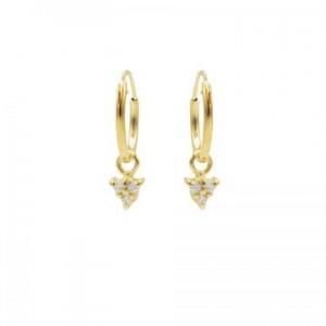 Karma oorbellen hoops symbols triple dots zirconia goud