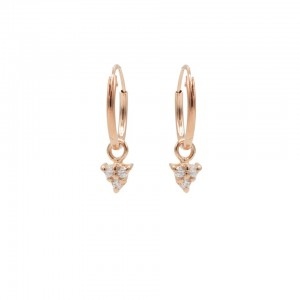 Karma oorbellen hoops symbols triple dots zirconia rosé