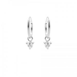 Karma oorbellen hoops symbols triple dots zirconia zilver