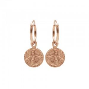 Karma oorbellen hoops symbols zeemeermin coin rosé 12mm (per paar)