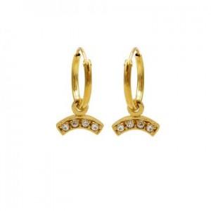 Karma oorbellen hoops symbols zirconia bow goud (per paar)