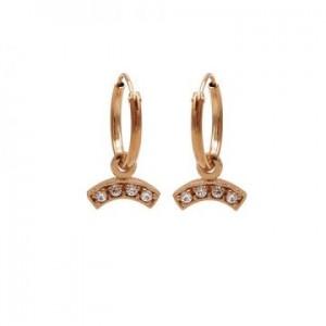 Karma oorbellen hoops symbols zirconia bow rosé (per paar)