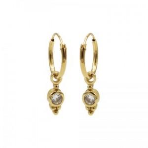 Karma oorbellen hoops symbols zirconia dot triple dots goud (per paar)
