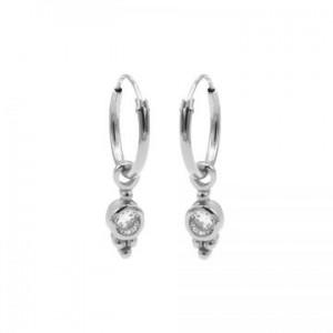 Karma oorbellen hoops symbols zirconia dot triple dots zilver (per paar)