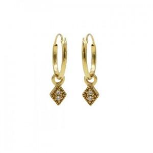 Karma oorbellen hoops symbols zirconia mini diamond goud (per paar)