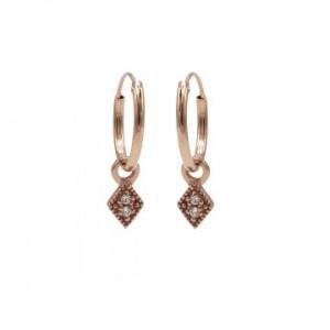 Karma oorbellen hoops symbols zirconia mini diamond rosé (per paar)