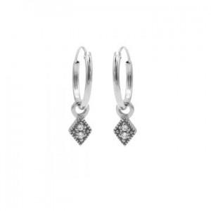 Karma oorbellen hoops symbols zirconia mini diamond zilver (per paar)
