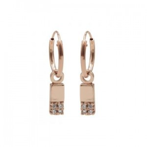 Karma oorbellen hoops symbols zirconia rectangle 2 rosé (per paar)