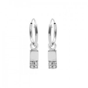 Karma oorbellen hoops symbols zirconia rectangle 2 zilver (per paar)