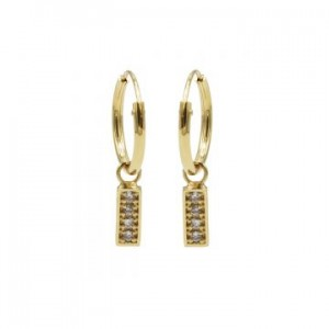 Karma oorbellen hoops symbols zirconia rectangle goud (per paar)