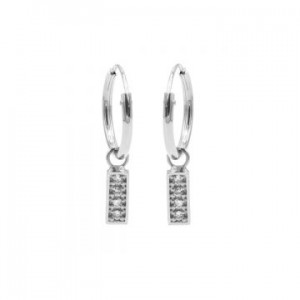 Karma oorbellen hoops symbols zirconia rectangle zilver (per paar)