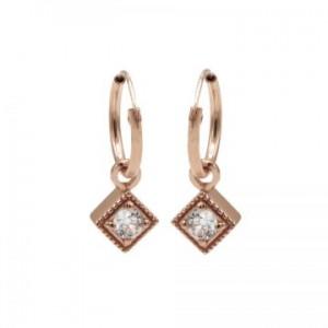 Karma oorbellen hoops symbols zirconia square diamond rosé (per paar)