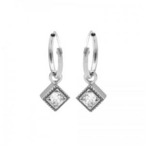 Karma oorbellen hoops symbols zirconia square diamond zilver (per paar)