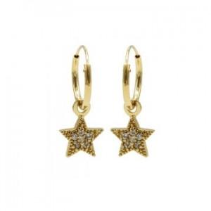 Karma oorbellen hoops symbols zirconia star dots goud (per paar)