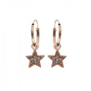 Karma oorbellen hoops symbols zirconia star dots rosé (per paar)
