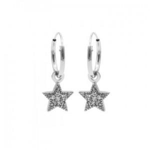 Karma oorbellen hoops symbols zirconia star dots zilver (per paar)