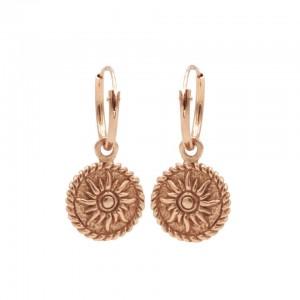 Karma oorbellen hoops symbols zon coin rosé 12mm (per paar)