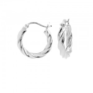 Karma oorbellen hoops twist and turn 925 sterling silver 18mm (per paar)