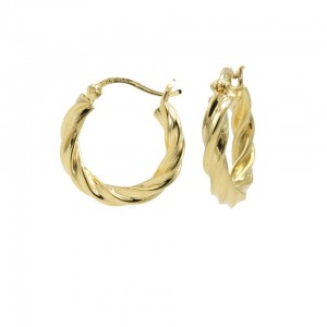 Karma oorbellen hoops twist and turn goldplated 925 sterling silver 18mm (per paar)