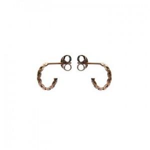 Karma oorbellen knopje symbols braided half hoop rosé (per paar)