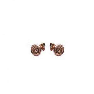 Karma oorbellen knopje symbols coin rosé (per paar)