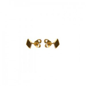 Karma oorbellen knopje symbols diamond goud (per paar)