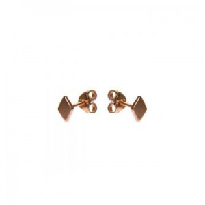 Karma oorbellen knopje symbols diamond rosé (per paar)