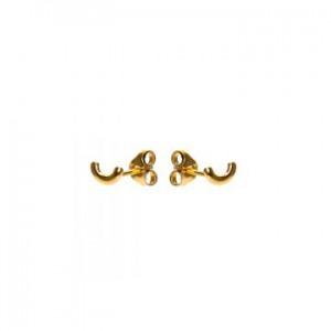 Karma oorbellen knopje symbols half circle goud (per paar)