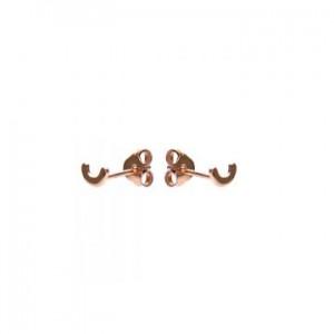 Karma oorbellen knopje symbols half circle rosé (per paar)