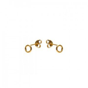 Karma oorbellen knopje symbols open circle goud (per paar)