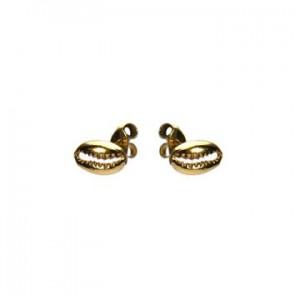 Karma oorbellen knopje symbols shell 3 goud (per paar)