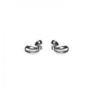 Karma oorbellen knopje symbols shell 3 zilver (per paar)