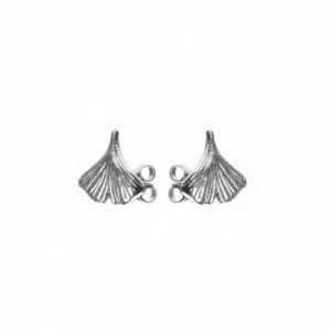 Karma oorbellen knopje symbols XL Ginko blaadje zilver (per paar)