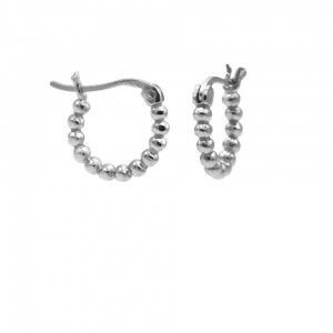 Karma oorbellen plain hoops dots 925 sterling silver 14mm (per paar)
