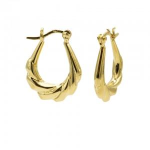 Karma oorbellen plain hoops braid goldplated 925 sterling silver  16mm (per paar)
