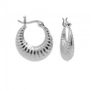 Karma oorbellen plain hoops ribbled 925 sterling silver 18mm (per paar)