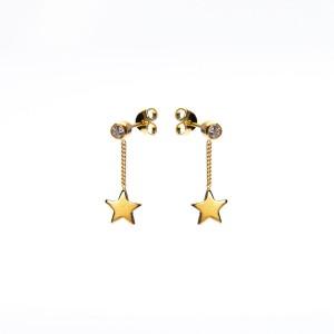 Karma oorbellen symbols chain zirconia star goud (per paar)
