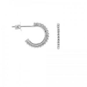 Karma oorbellen symbols dots row  half hoop zilver