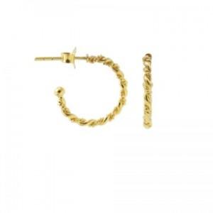 Karma oorbellen symbols half hoop double twisted 16mm goud