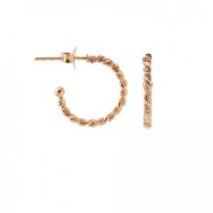 Karma oorbellen symbols half hoop double twisted 16mm rose