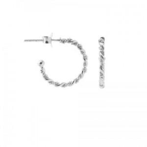 Karma oorbellen symbols half hoop double twisted 16mm zilver
