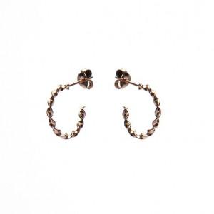 Karma oorbellen symbols XL half hoop twisted rosé (per paar)