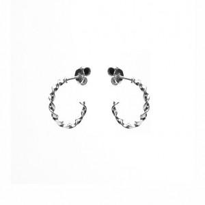 Karma oorbellen symbols XL half hoop twisted zilver (per paar)