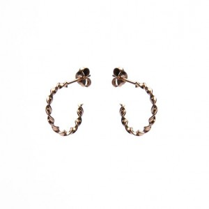Karma oorbellen twisted loose hoops roseplated 925 sterling silver 15mm (per paar)