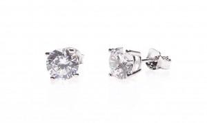 Karma zirconia earstuds  2-3-4-5-6-7MM 925 sterling zilver (per paar)