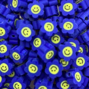 Katsuki kralen smiley bloem blauw 8.5mm per stuk