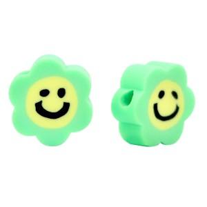 Katsuki kralen smiley bloem groen 10mm