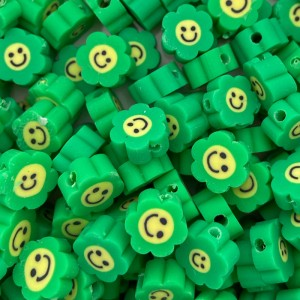 Katsuki kralen smiley bloem groen 8.5mm per stuk