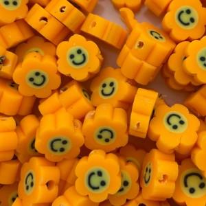 Katsuki kralen smiley bloem oranje 8.5mm per stuk