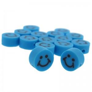 Katsuki kralen smiley rond blauw 10x5mm (per stuk)
